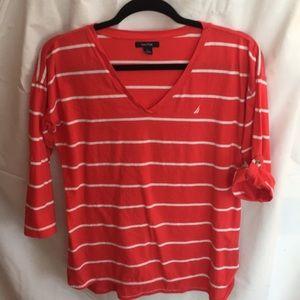 Nautica red white striped top